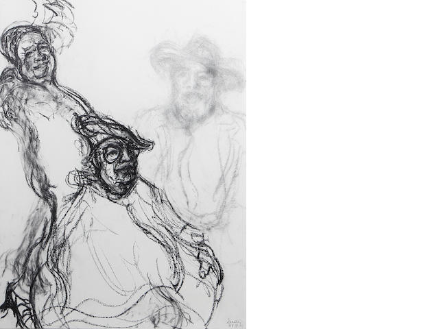 Maggi Hambling (British, born 1945) George Melly - working studies for the picture in the National Portrait Gallery overall size 60 x 144cm (23 1/2 x 56 1/2in)
