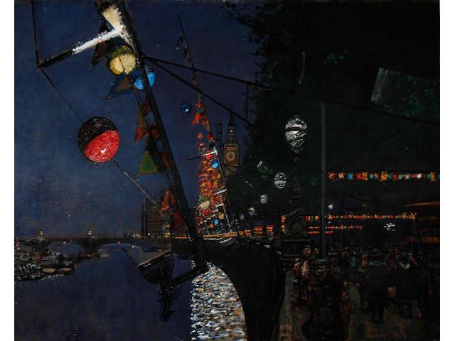 Ruskin Spear R.A. (British, 1911-1990) Lights of London, Festival of Britain, 1951 unframed