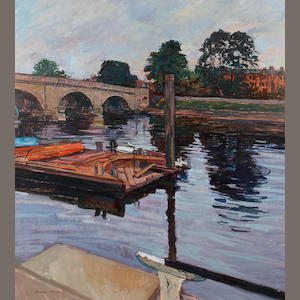 William Bowyer RA (British, born 1926) Moorings, Richmond bridge