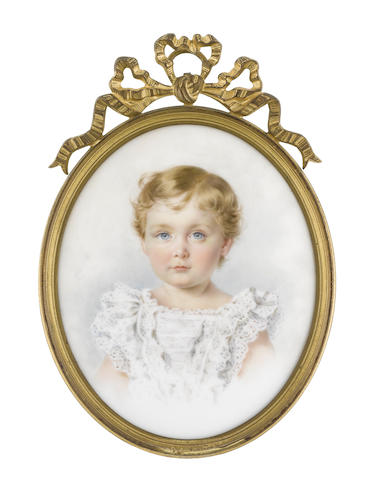 English School, 1891 Prince Leopold Battenberg, later Lord Mountbatten GCVO (1889-1922), aged two, wearing white dress with lace to his sleeves and bodice, his blond hair cut short