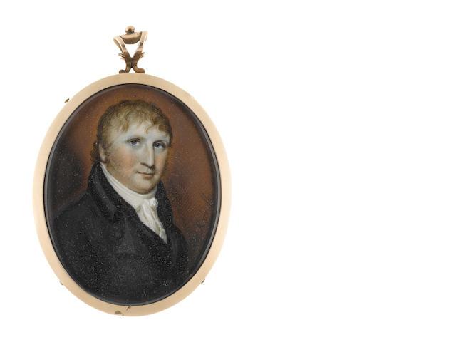 Henry Kirchhoffer (British, 1781-1860) A Gentleman, wearing black coat and waistcoat, white chemise, stock and cravat