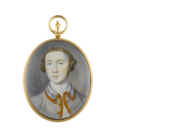 Peter Paul Lens (British, 1714-1750) A Gentleman, wearing pale blue coat with gold trim to edge and collar, white waistcoat, chemise, stock and cravat, natural hair