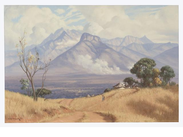 Willem Hermanus Coetzer (South African, 1900-1983) Bush fire, Eastern Transvaal