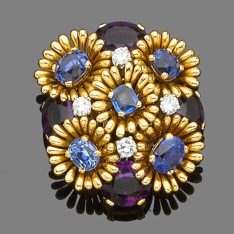 A sapphire, amethyst and diamond cluster brooch,  monture Schlumberger,