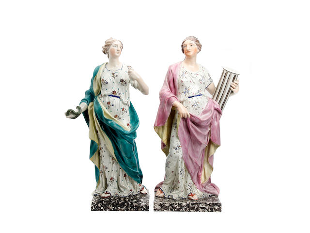 A pair of large Wood-type figures of Muses, early 19th century