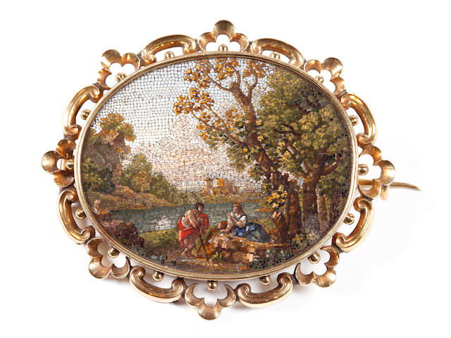 A 19th century micro-mosaic panel brooch (2)
