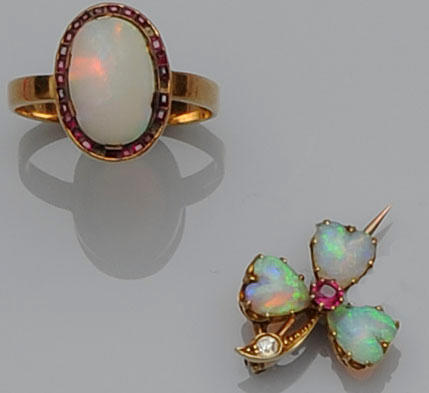 A small collection of opal jewellery