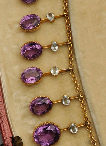 A late Victorian amethyst and aquamarine fringe necklace