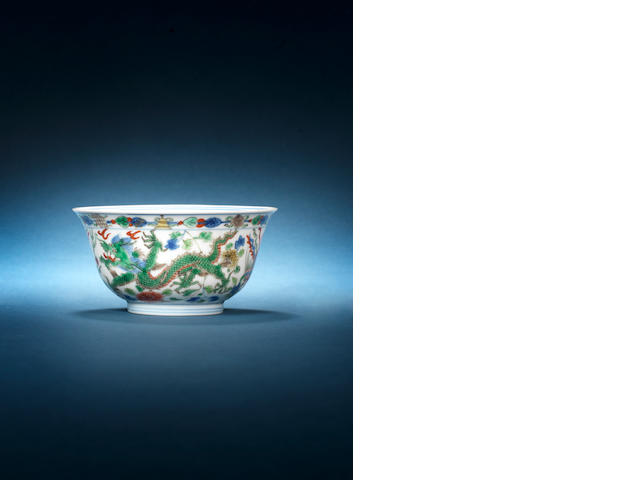 A wucai 'dragon and phoenix' bowl Kangxi six-character mark and of the period