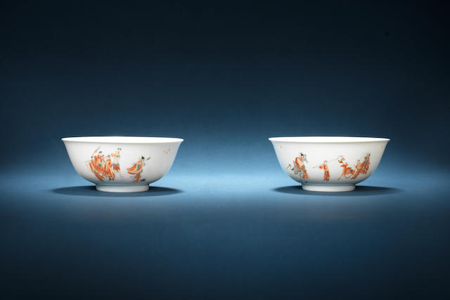 A fine pair of iron-red and grisaille-enamelled bowls Kangxi six-character marks and of the period