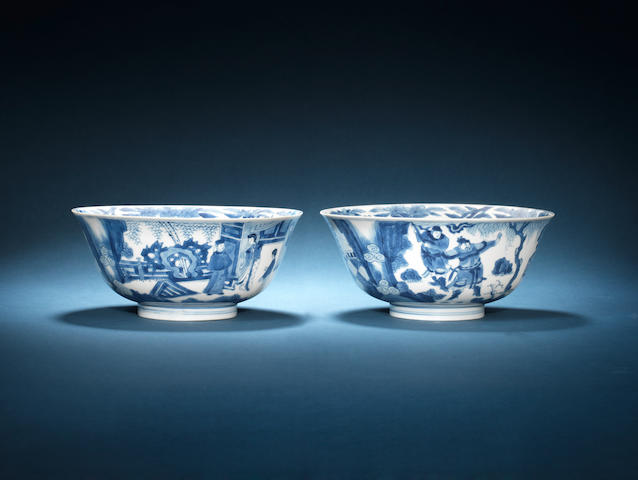 A pair of blue and white bowls Chenghua six-character marks, Kangxi