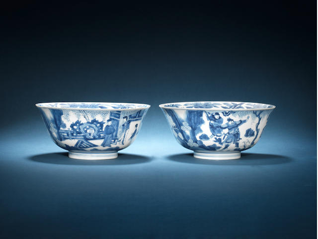 A pair of blue and white bowls Chenghua six-character mark, Kangxi