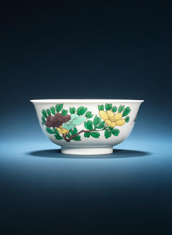 An engraved famille verte bowl Kangxi mark and of the period