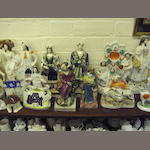 A group of various Staffordshire pottery figures Circa 1820 to 1880