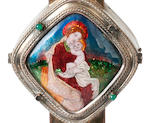 Phoebe Anna Traquair (1852-1936) A large and important silver plated on copper and enamel cross circa 1906