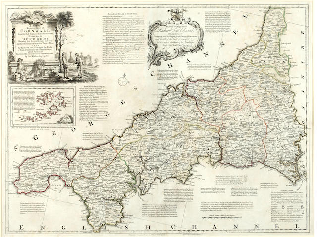 KITCHIN (THOMAS) A New Improved Map of Cornwall, large double-page engraved map, hand-coloured in outline, [1755]