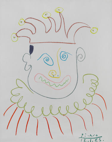 After Pablo Picasso (Spanish, 1881-1973) Jester Offset lithograph printed in colours, on wove, 520 x 390mm (20 1/2 x 15 3/8in)(I)