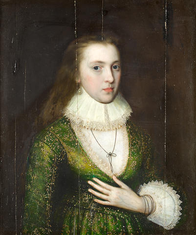 Attributed to William Larkin (London circa 1580-1619) Portrait of a lady, said to be Lady Mary Darrell (died 1598), half-length,
