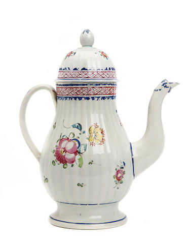 A pearlware coffee pot, circa 1780