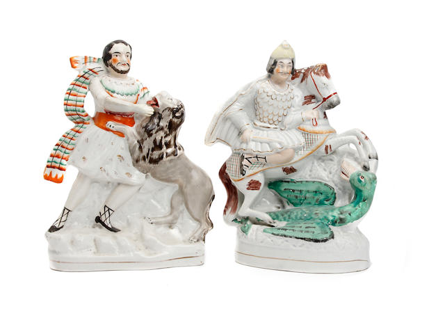 Two Staffordshire figures of George and the Dragon and Samson and the Lion
