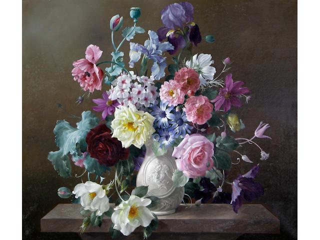 Harold Clayton (British, 1896-1979) Summer flowers in a porcelain vase