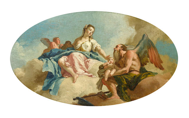 Costantino Cedini (Padua 1741-1811 Venice) An Allegory with Venus and Time, within a painted oval