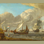 Attributed to Johannes de Blaauw (Amsterdam 1712-1776) Dutch shipping in choppy seas off the coast