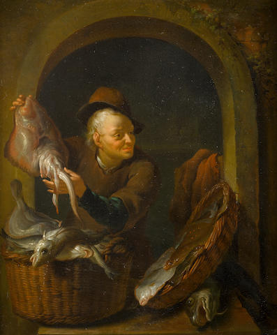 Louis de Moni (Breda 1698-1771 Leiden) A fish seller, within a painted stone niche