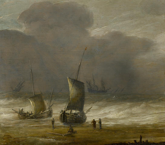 Pieter Mulier the Elder (Haarlem circa 1615-circa 1670) Sailors on a shore with shipping in a choppy sea