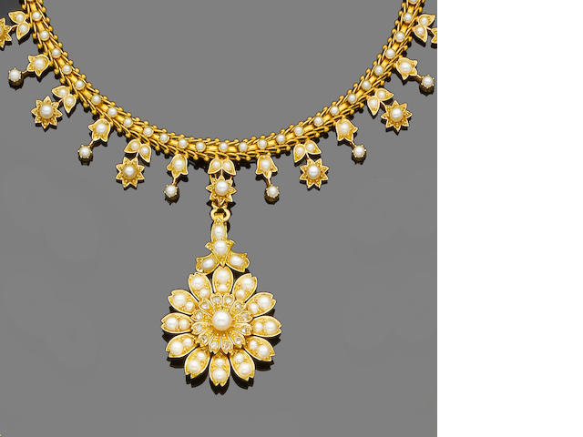 A late 19th century gold, seed pearl and diamond fringe necklace, pendant and brooch suite, (3) (partially illustrated)