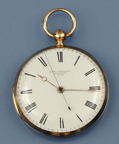 An 18ct gold open face key wind pocket watch by Joseph Penlington, Liverpool