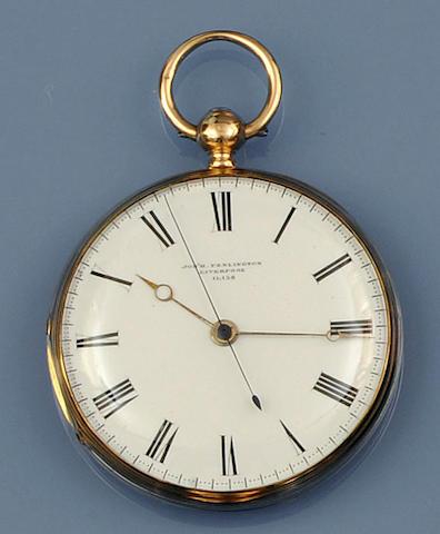 An 18ct gold open face key wind pocket watch by Joseph Penlington