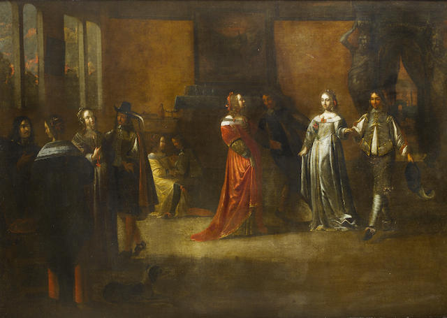 Attributed to Frans de Geffels (Antwerp 1610-1680 Mantua) Elegant figures merrymaking in an interior