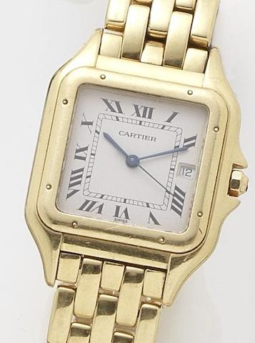 Cartier. An 18ct gold quartz calendar bracelet watch Santos, Recent