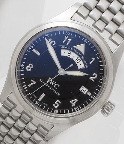IWC. A stainless steel automatic calendar dual time zone bracelet watch Ref:3251, Case No.3067598, Movement No.2874983, Recent