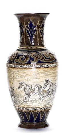 Hannah Barlow and Eliza Simmance for Doulton Lambeth  a Vase with Horses