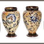 Mark V Marshall for Doulton Lambeth  a Pair of Applied Floral Vases