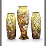 Emily Gillman for Doulton Lambeth a Pair of Faience Vases with Flora and Catkins