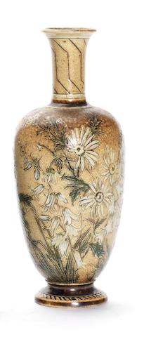 A Martin Brothers vase with butterfly and flora Dated 1890