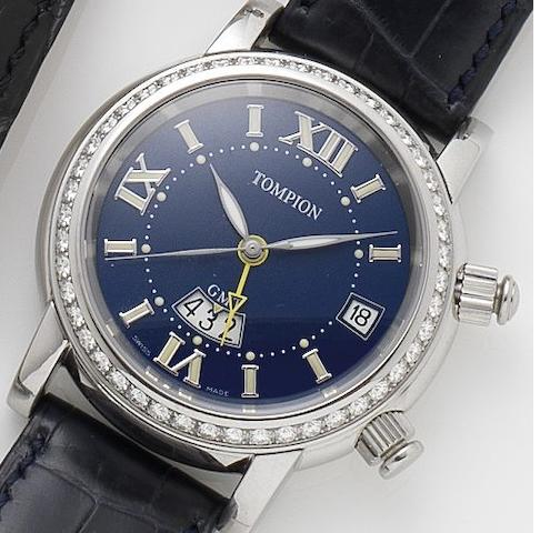 Graham. A stainless steel and diamond set automatic dual time alarm wristwatch Tompion GMT, Ref.3SGDA-671, No 065