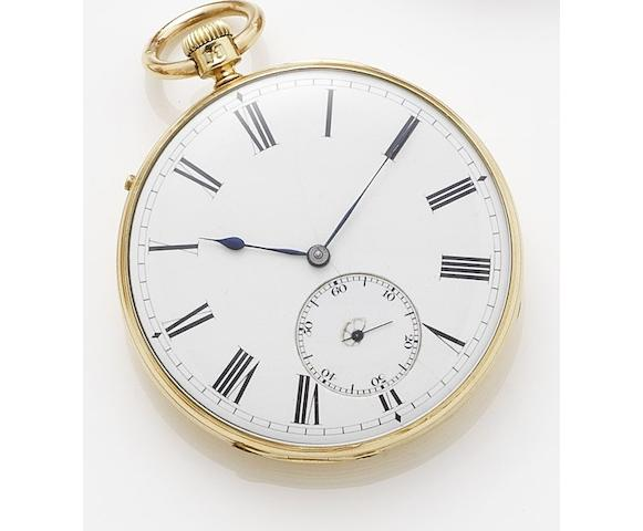 E.J. Dent. An Mid 19th century 18ct gold open faced pocket watch London hallmark for 1842