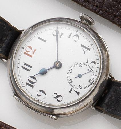 Rolex. A silver manual wind trench wristwatch London import mark for 1915