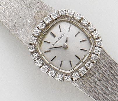 Jaeger-Le Coultre. A lady's white gold and diamond set manual wind bracelet watch1960's
