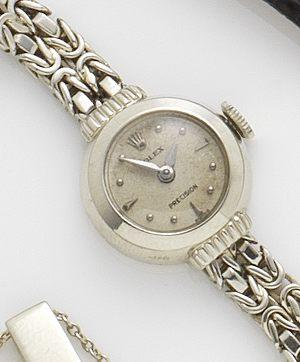 Rolex. A lady's 18ct white gold manual wind bracelet watch 1960's