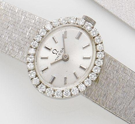 Omega. A lady's 18ct white gold and diamond set bracelet watch1960's