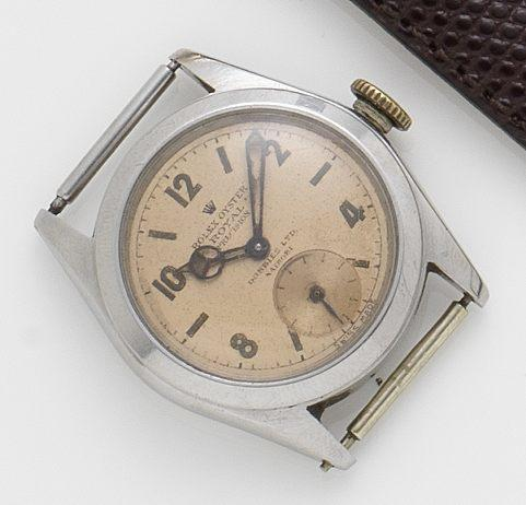 Rolex. A stainless steel manual wind wristwatch Oyster Royal precision, 1940's