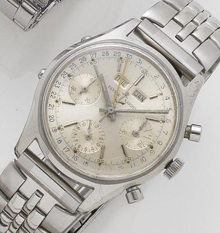 Ulysse Nardin. A stainless steel manual wind chronograph wristwatchRef:7735-1, Movement No.7500646, Sold on 10th May 1968
