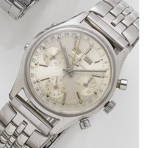 Ulysse Nardin. A stainless steel manual wind chronograph wristwatch Ref:7735-1, Movement No.7500646, Sold on 10th May 1968