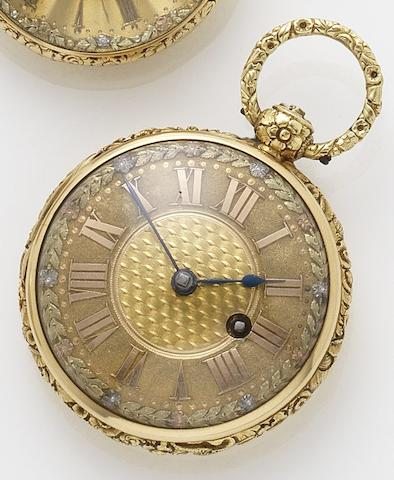 James Smith. An early 19th century 18ct gold open faced pocket watch London hallmark for 1817