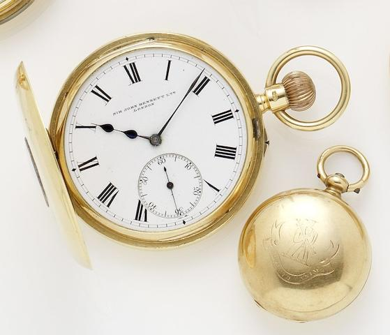 Sir John Bennet. A late 19th century 18ct gold manual wind half hunter pocket watch together with 18ct gold coin holder London hallmark for 1867